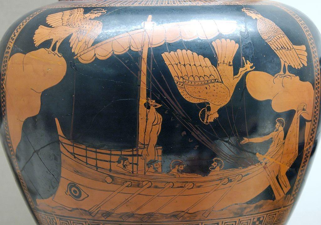 Greek vase with bird-like sirens