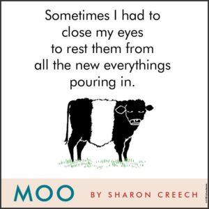 via Amazon: https://www.amazon.com/Moo-Novel-Sharon-Creech/dp/0062415247